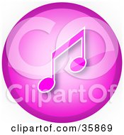 Pink Music Note Icon Button