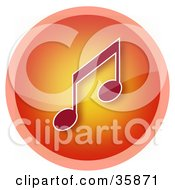 Shiny Red And Orange Music Note Icon Button With A Pink Ring
