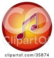 Gradient Red And Orange Music Note Icon Button