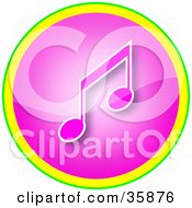 Pink Music Note Icon Button With Yellow And Green Trim