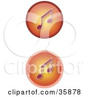 Set Of Two Gradient Orange Music Icon Buttons With Music Notes