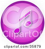 Purple Music Note Icon Button