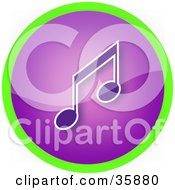 Shiny Purple Music Note Icon Button Circled In Green