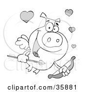 Black And White Cupid Pig With Flying With Hearts A Bow And Arrow