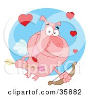 Cupid Pig Flying With Hearts A Bow And Arrow