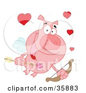 Clipart Illustration Of A Pink Cupid Pig Flying With Hearts A Bow And Arrow