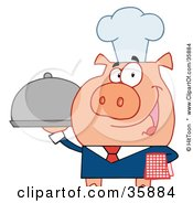 Clipart Illustration Of A Friendly Waiter Pig In A Chefs Hat Serving Food On A Platter by Hit Toon