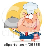 Clipart Illustration Of A Nice Waiter Pig In A Chefs Hat Serving Food On A Platter Over A Yellow Circle by Hit Toon