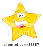 Clipart Illustration Of A Hyper Happy Yellow Star Smiling And Showing His Teeth