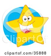 Clipart Illustration Of An Excited Yellow Star Smiling And Showing His Teeth Over A Blue Circle