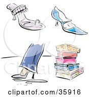 Clipart Illustration Of A Group Of Fashionable Shoes And Colorful Boxes
