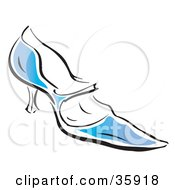 Blue High Heel Shoe With A Pointy Toe