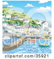 Clipart Illustration Of A Coastal Town With Homes On A Hill Overlooking Boats In A Harbour