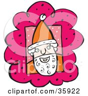 Clipart Illustration Of Santa Wearing A Hat And Smiling On A Pink And White Background