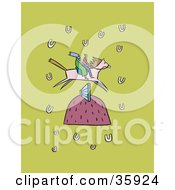 Clipart Illustration Of A Couple Racing On A Lucky Horse As It Leaps A Hurdle On A Green Background With Horse Shoes