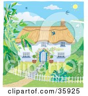 Clipart Illustration Of A Cute Cottage With A Landscaped Yard Overlooking The Coast On A Sunny Day