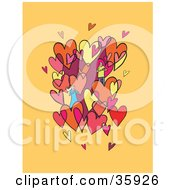 Clipart Illustration Of A Caring Couple Admiring Each Other In A Cluster Of Pink Yellow And Red Hearts