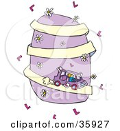 Clipart Illustration Of A Blond Teenage Girl Driving A Car Down A Purple Hill Covered In Flowers On A White Background