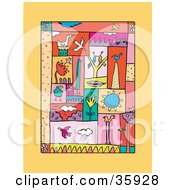 Clipart Illustration Of A Colorful Collage Of Birds Pairs Feathers Nests Plants And The Sun On An Orange Background