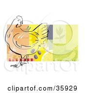 Clipart Illustration Of A Chicken Outline With Veggies Seasonings And Food On A Colorful Background Bordered In White