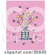 Clipart Illustration Of A Crowd Of Busy Bees Flying Around A Spiraling Flower On A Pink Background