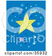 Clipart Illustration Of A Big Star Covered In Craters Surrounded By Planets And Stars In Blue Outer Space