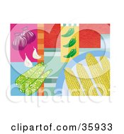 Clipart Illustration Of Corn Cobs On A Plate Over A Colorful Background With Onions Zucchini Peppers And Garlic