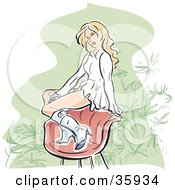 Clipart Illustration Of A Pretty Blond Caucasian Woman In A Ruffled Dress And Boots Sitting On The Back Of A Chair
