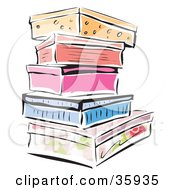 Clipart Illustration Of A Stack Of Colorful Shoe Boxes Or Storage Containers