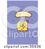 Clipart Illustration Of A Spiraling Flower With Colorful Confetti And A Happy Birthday Greeting