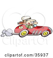 Caucasian Mans Hat Flying Off As He Races A Vintage Red Race Car