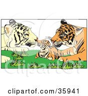 Clipart Illustration Of A Tiger Parents Grooming Their Cub