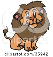 Clipart Illustration Of A Furry Brown Male Lion With A Big Mane