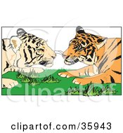 Clipart Illustration Of A Tiger Pair Gazing At Each Other While Laying In Grass by Dennis Holmes Designs