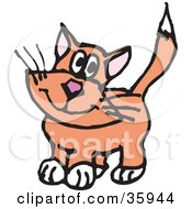Clipart Illustration Of An Innocent Orange Cat With White Paws by Dennis Holmes Designs