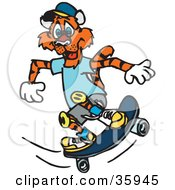 Clipart Illustration Of A Skateboarding Tiger In Clothes And Knee Pads by Dennis Holmes Designs