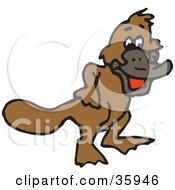 Clipart Illustration Of A Laughing Brown Platypus by Dennis Holmes Designs