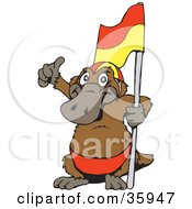 Clipart Illustration Of A Platypus Giving The Thumbs Up And Holding A Lifeguard Flag by Dennis Holmes Designs