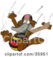Clipart Illustration Of A Platypus In A Swimsuit Jumping Into A Pool by Dennis Holmes Designs