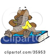 Clipart Illustration Of A Laughing Platypus In A Shirt Sitting On Top Of A Blue Book by Dennis Holmes Designs