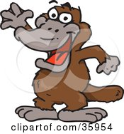 Clipart Illustration Of A Friendly Brown Platypus Waving by Dennis Holmes Designs