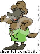 Clipart Illustration Of A Laughing Platypus Wearing Green Swim Shorts by Dennis Holmes Designs