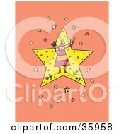 Clipart Illustration Of A Female Celebrity Carrying A Bouquet And Standing On A Star Over An Orange Background