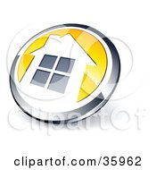 Pre Made Logo Of A Shiny Round Chrome And Yellow Home Button