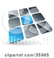 Clipart Illustration Of A Pre Made Logo Of Two Blue Tiles Standing Out From Rows Of Silver Tiles by beboy #COLLC35965-0058
