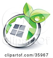 Clipart Illustration Of A Pre Made Logo Of A Shiny Round Chrome And Green Home Button With Leaves by beboy #COLLC35967-0058