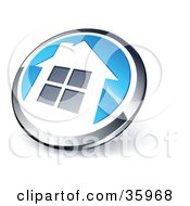 Clipart Illustration Of A Pre Made Logo Of A Shiny Round Chrome And Blue Home Button by beboy #COLLC35968-0058