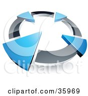 Clipart Illustration Of A Pre Made Logo Of A Chrome Circle With Four Blue Arrows Pointing Inwards by beboy