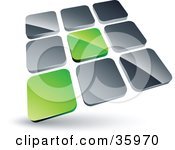 Clipart Illustration Of A Pre Made Logo Of Two Green Tiles Standing Out From Rows Of Silver Tiles by beboy