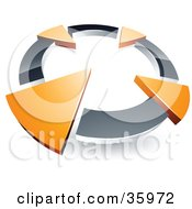 Clipart Illustration Of A Pre Made Logo Of A Chrome Circle With Four Orange Arrows Pointing Inwards by beboy